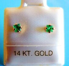 14K SOLID GOLD STUDS EARRINGS Natural GENUINE Very Small EMERALDS = 2.2 - 2.5mm