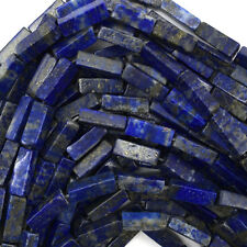 "13mm blue lapis lazuli side tube beads 16"" strand"