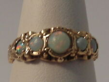 921F LADIES 9CT GOLD OPAL BAND RING SIZE L