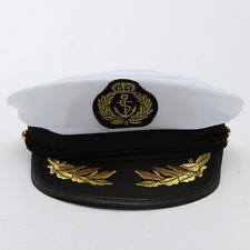 Adult Yacht Boat Captain Hat Navy Cap Ship Sailor Costume Party Fancy Dress