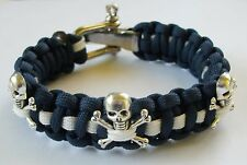 ROYAL NAVY SUBMARINER SKULL AND CROSSBONES PARACORD WRISTBAND ADJUSTABLE BUCKLE