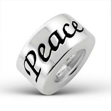 925 Sterling Silver Round PEACE Word Plain Bracelet Charm Bead Gift Boxed B225