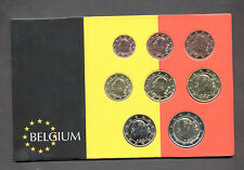 BELGIUM MIXT YEARS COMPLETE EURO COINS SET UNC IN CASE