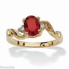 WOMENS 14K GOLD PLATED BIRTHSTONE RUBY AND CRYSTAL RING SIZE  5 6 7 8 9 10
