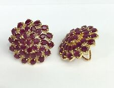 14k Solid Yellow Gold Big Flower Cluster Omega Back Earrings, Natural Ruby 11TCW