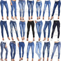 Womens Ripped Knee Cut Jeans Faded Slim Fit Ladies Skinny Denim Jeans Sizes 6-16