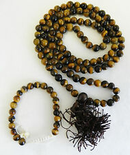 R486 Tibetan 108 Prayer Mala Tiger Eye Glass Beads for Meditation Made in Nepal