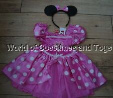 Minnie Mouse Pink Dress Up Fancy Dress Costume & Orejas Edad 7/8 años Nuevo