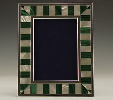 Kirk Stieff Sterling Silver Malachite Gemstone and Mother of Pearl Photo Frame.