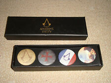 ASSASSIN'S CREED UNITY set of 4 authentic pins buttons badges in box FREE S/H