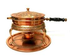 Vintage 6pc Embossed Copper Double CHAFING Dish WARMER Burner & Charger TRAY Set