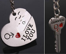 Couple I LOVE YOU Heart & Arrow  Ring  Key Chain Lover Romantic Creative