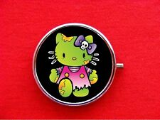 HELLO ZOMBIE KITTY CAT ROUND METAL PILL MINT BOX CASE