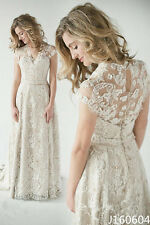 2016 Vintage Lace Wedding Dresses A-Line V-Neck Short Sleeve Beach Bridal Gowns