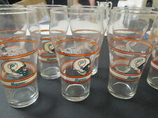 Miami Dolphins Coca Cola Vintage Glasses 12oz. Set of 8 Never used-display only