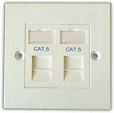 Cat5 2 Way Data Network Outlet Kit, Faceplate, Modules. LAN Ethernet Wall Mount