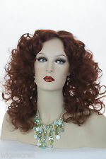Burgundy Red Red Long Medium Curly Skin Top Wigs