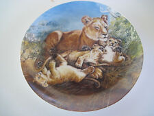 "Cute 8"" Lioness with cubs Plate 905B Knowels ""A Watchful Eye"""