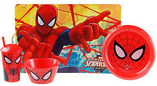 NEW Toddler Child's Spiderman 4 Piece Dinner Set - Place Mat, Plate, Bowl, Cup