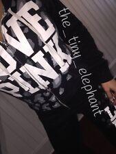 Victoria Secret Love Pink Black Cheetah Leopard Full Zip Hoodie Sweatpants Set M