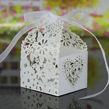20 xCandy Chocolate Box Wedding Party Favour Gift Wraping Bag W/Ribbon White