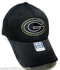 Green Bay Packers NFL MaxFlex Sideline Hat Cap Black Out Tonal Logo Flex Fit