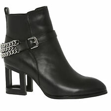 BN £200 JEFFREY CAMPBELL AXEL MH BOOTS BLACK LEATHER SILVER CHAIN CUT OUT HEEL 6