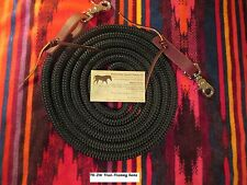 "Rose Lodge 9' x 9/16"" BLACK Trail Training Yacht Rope Loop Reins Leathers Snaps"