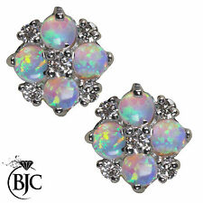 BJC® 9ct White Gold Natural Opal & Diamond Cluster 0.80ct 0.34ct Stud Earrings