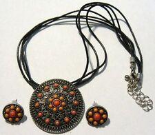 parure collier boucles d'oreilles bijou vintage coul argent perles roses *4922