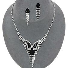 Black Silver Crystal Rhinestone Teardrop Prom Wedding Formal Necklace Set