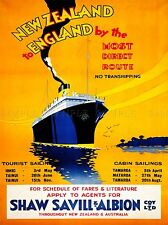 TRAVEL NEW ZEALAND SAIL BOAT ORANGE ENGLAND ART POSTER PRINT LV4069