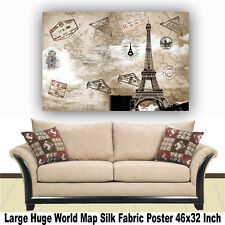 """Poster World Map Large Huge Giant Wall Print Silk Fabric Decor 46""""x32"""" Inch T36"""