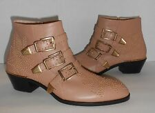 Chloé Suzanna Susanna Leather Studded Buckled Ankle Booties Boots Natural Beige