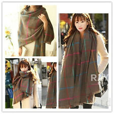 Fashion lady Cashmere Winter Wool Blend Soft Warm Wrap Shawl Tassel Plaid Scarf