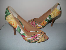 Karen Millen white red green yellow floral roses print peep toe Shoes 38