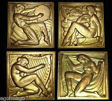 4 RARES PLAQUES MÉDAILLES EN BRONZE ART DÉCO 1927 par MARCEL RENARD  (1893-1974)