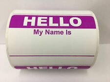 50 Labels PURPLE Hello My Name Is Name Tag Identification Stickers