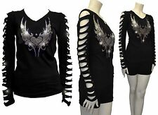 Bling Bling Angel Wings,Hearts Rhinestone Shirt Ripped Slit Cut Out T-Shirt 3XL