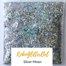 Holographic Silver Moon Bar Glitter Mix Hex Fine | 1 TSP | Acrylic Gel Nail Art