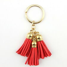 Silver Plated Casual Velvet Leather Tassel Keychain Bag Pendant Car Key Chain
