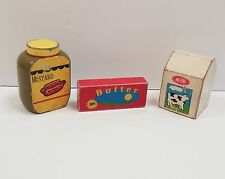 VINTAGE Pottery Barn 3pc Wood Fun Food LOT KIDS PLAY Toys Butter  Milk..DAYCARE