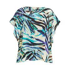 Celuu Mia Square Kimono Palm Print Blouse, Multi SIZE 12 BNWT