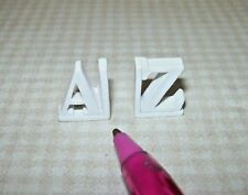 """Miniature White Resin Children's """"A to Z"""" Bookends: DOLLHOUSE Miniatures 1/12"""
