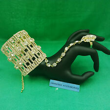 GOLD/SILER LARGE DIAMONTE BANGLE CUFF WITH RING (VA41GS) WEDDING/PARTY/PROM
