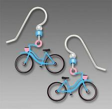 Sienna Sky Blue & Pink Bicycle EARRINGS Ladies Bike Silver Earwires - Gift Boxed