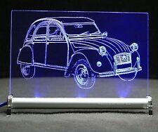 Citroen 2CV Ente als Gravur auf LED-Schild deux chevaux