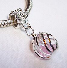 Caged Pink Crystal October Birthstone Dangle Bead for Silver Euro Charm Bracelet