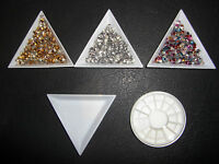 Rhinestones Nail Art - 3mm gold sliver 3D Square, Sorting tray, Storage wheel