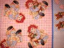 Raggedy Ann Cut & Sew Baby Doll PANEL Teddy Bear Pink Blue Dolly Cotton Fabric